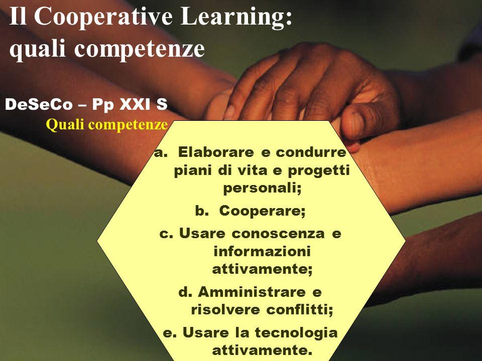 DeSeCo – Pp XXI S Quali competenze a.Elaborare e condurre piani di vita e progetti personali; b.Cooperare; c. Usare conoscenza e informazioni attivame