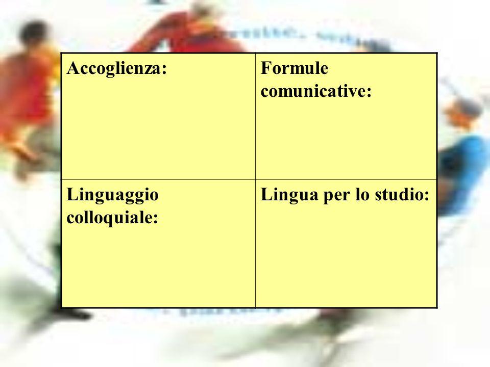 Accoglienza:Formule comunicative: Linguaggio colloquiale: Lingua per lo studio: