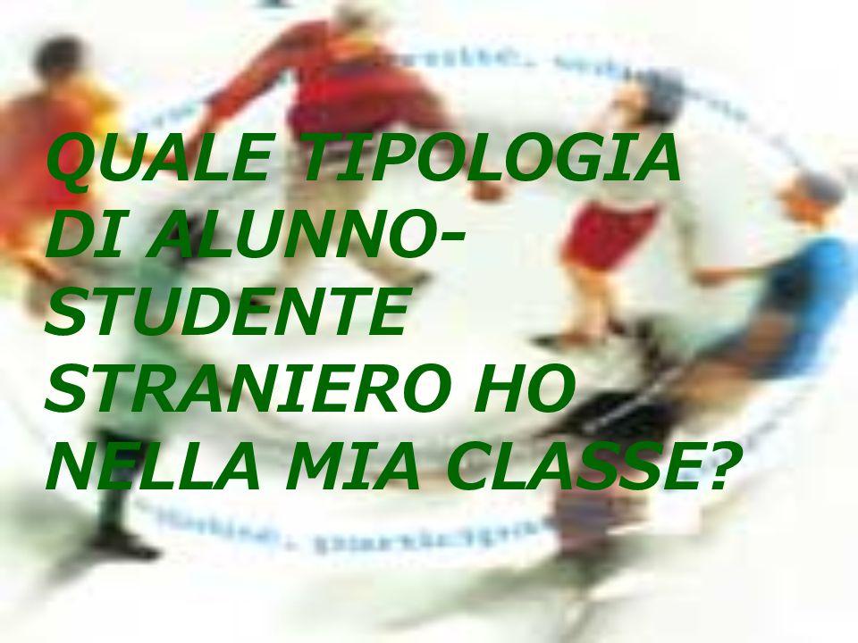 QUALE TIPOLOGIA DI ALUNNO- STUDENTE STRANIERO HO NELLA MIA CLASSE?