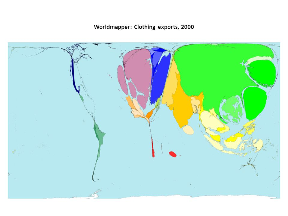 Worldmapper: Clothing exports, 2000
