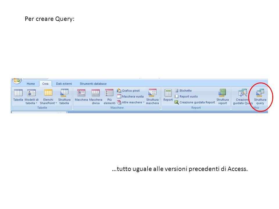Per creare Query: …tutto uguale alle versioni precedenti di Access.
