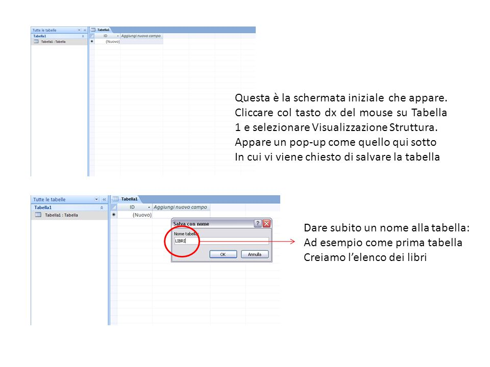 Questa è la schermata iniziale che appare. Cliccare col tasto dx del mouse su Tabella 1 e selezionare Visualizzazione Struttura. Appare un pop-up come