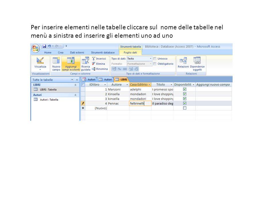 Per inserire elementi nelle tabelle cliccare sul nome delle tabelle nel menù a sinistra ed inserire gli elementi uno ad uno