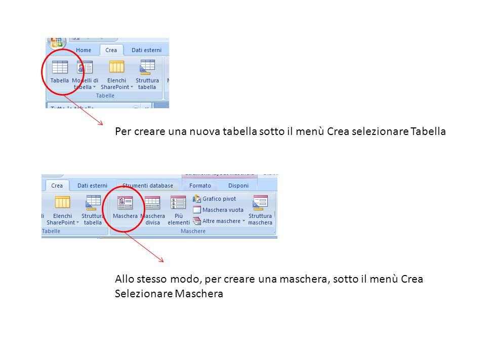 Per creare una nuova tabella sotto il menù Crea selezionare Tabella Allo stesso modo, per creare una maschera, sotto il menù Crea Selezionare Maschera