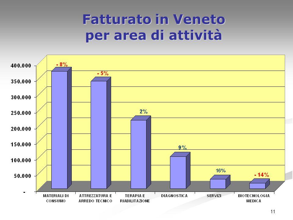 11 Fatturato in Veneto per area di attività