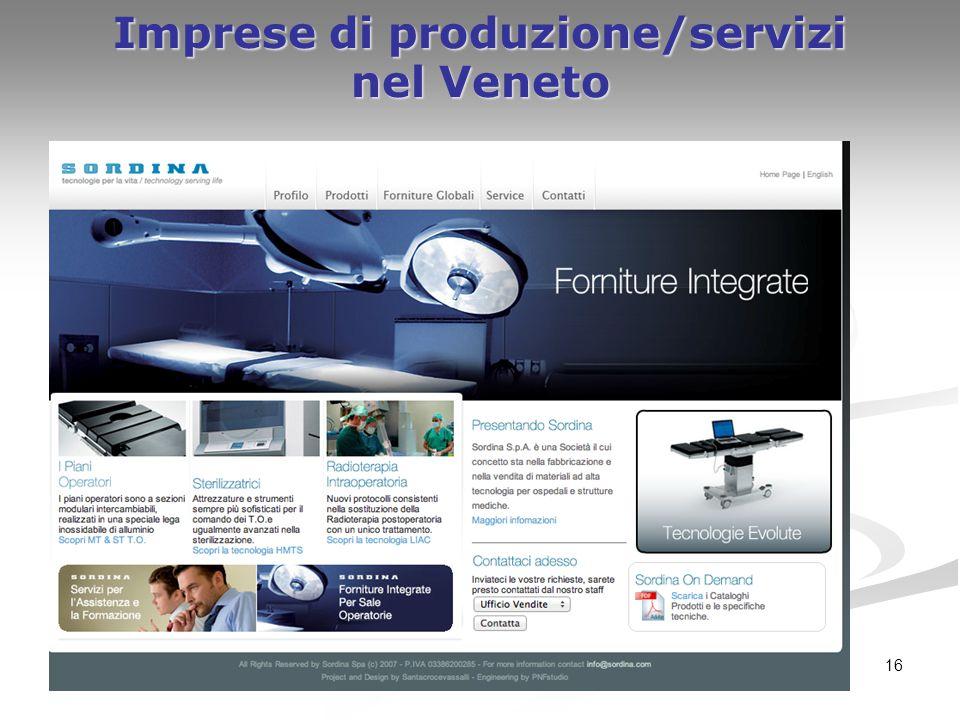 16 Imprese di produzione/servizi nel Veneto