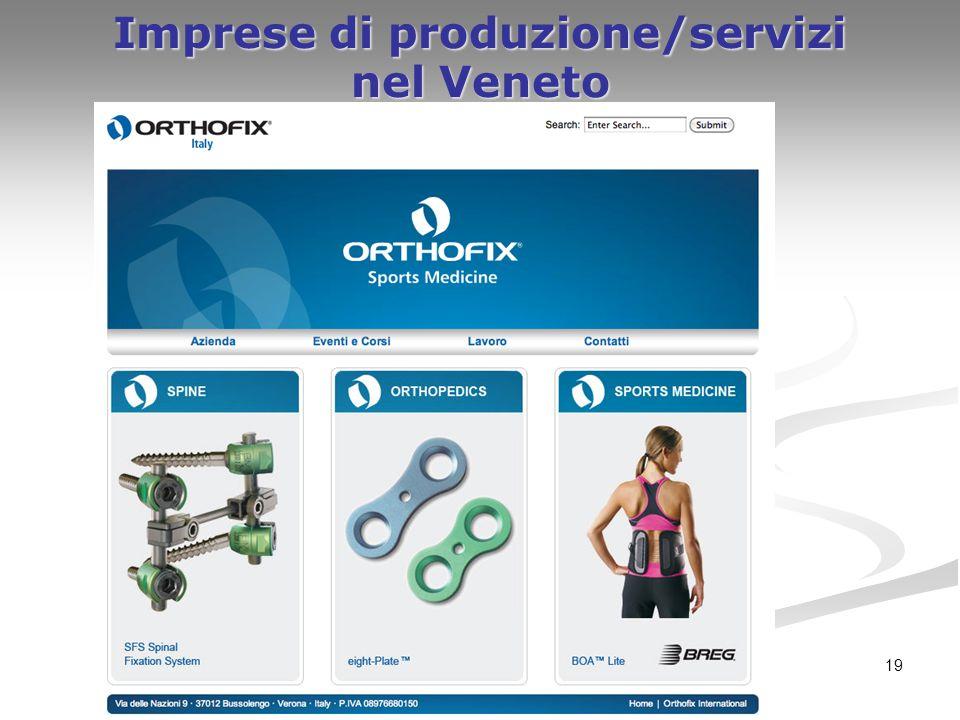19 Imprese di produzione/servizi nel Veneto