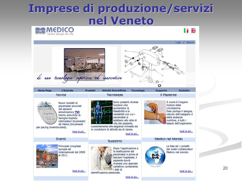 20 Imprese di produzione/servizi nel Veneto