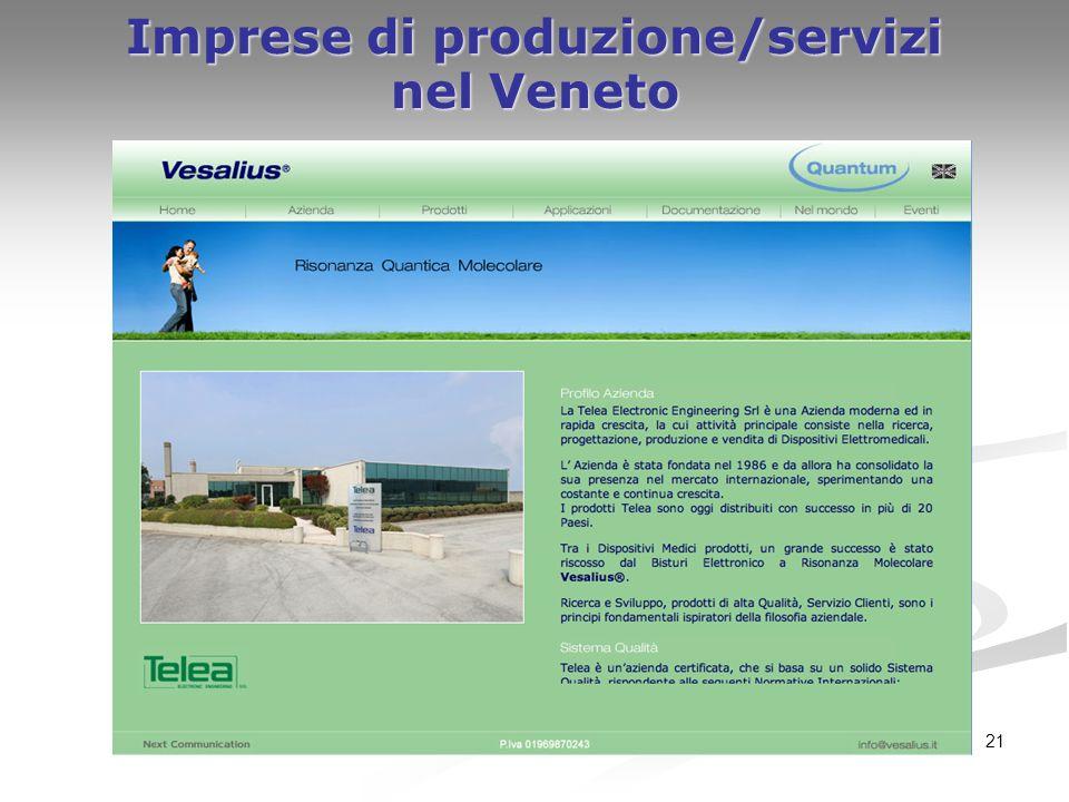 21 Imprese di produzione/servizi nel Veneto