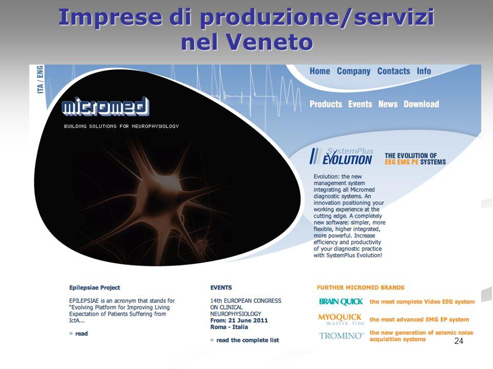 24 Imprese di produzione/servizi nel Veneto