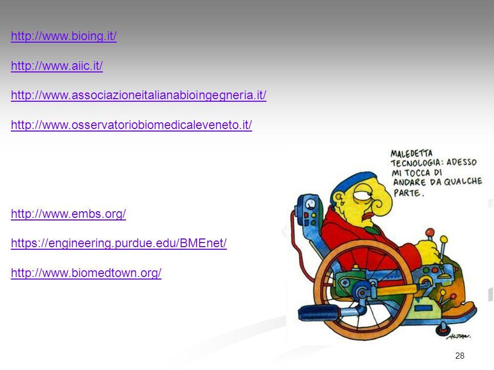 28 http://www.bioing.it/ http://www.aiic.it/ http://www.associazioneitalianabioingegneria.it/ http://www.osservatoriobiomedicaleveneto.it/ http://www.