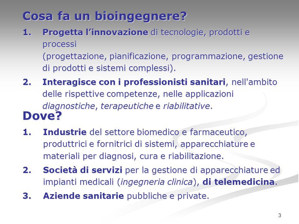 3 Cosa fa un bioingegnere? 1.Progetta l'innovazione di tecnologie, prodotti e processi (progettazione, pianificazione, programmazione, gestione di pro