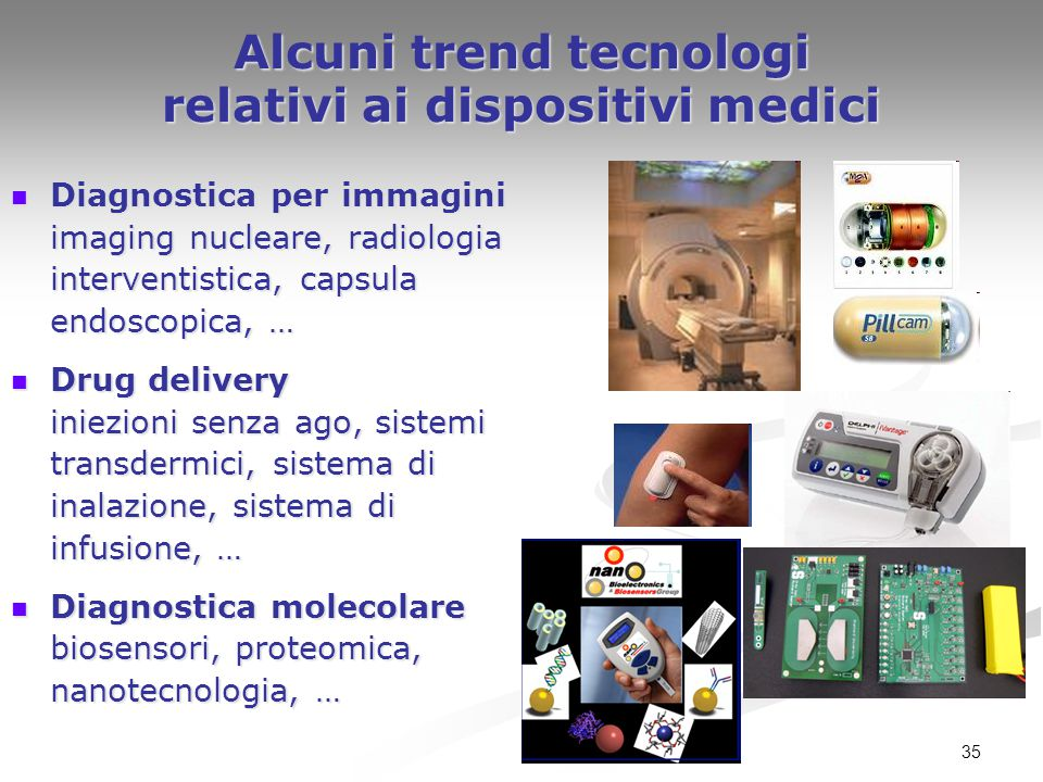 35 Alcuni trend tecnologi relativi ai dispositivi medici Diagnostica per immagini imaging nucleare, radiologia interventistica, capsula endoscopica, …