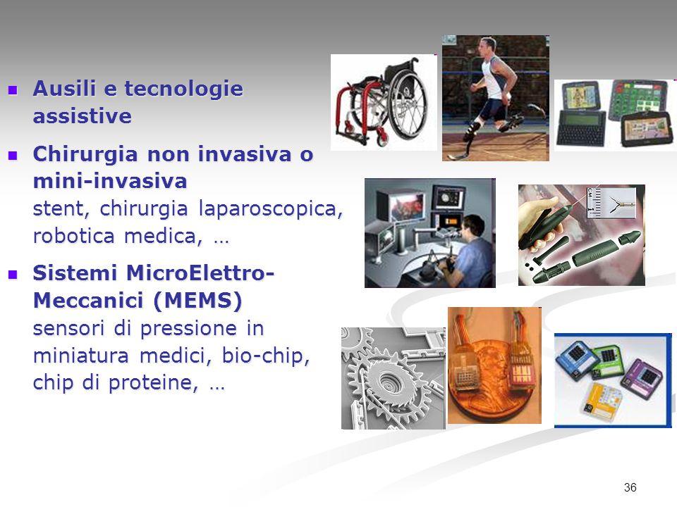 36 Ausili e tecnologie assistive Ausili e tecnologie assistive Chirurgia non invasiva o mini-invasiva stent, chirurgia laparoscopica, robotica medica,
