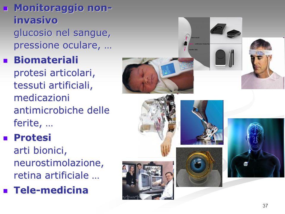 37 Monitoraggio non- invasivo glucosio nel sangue, pressione oculare, … Monitoraggio non- invasivo glucosio nel sangue, pressione oculare, … Biomateri