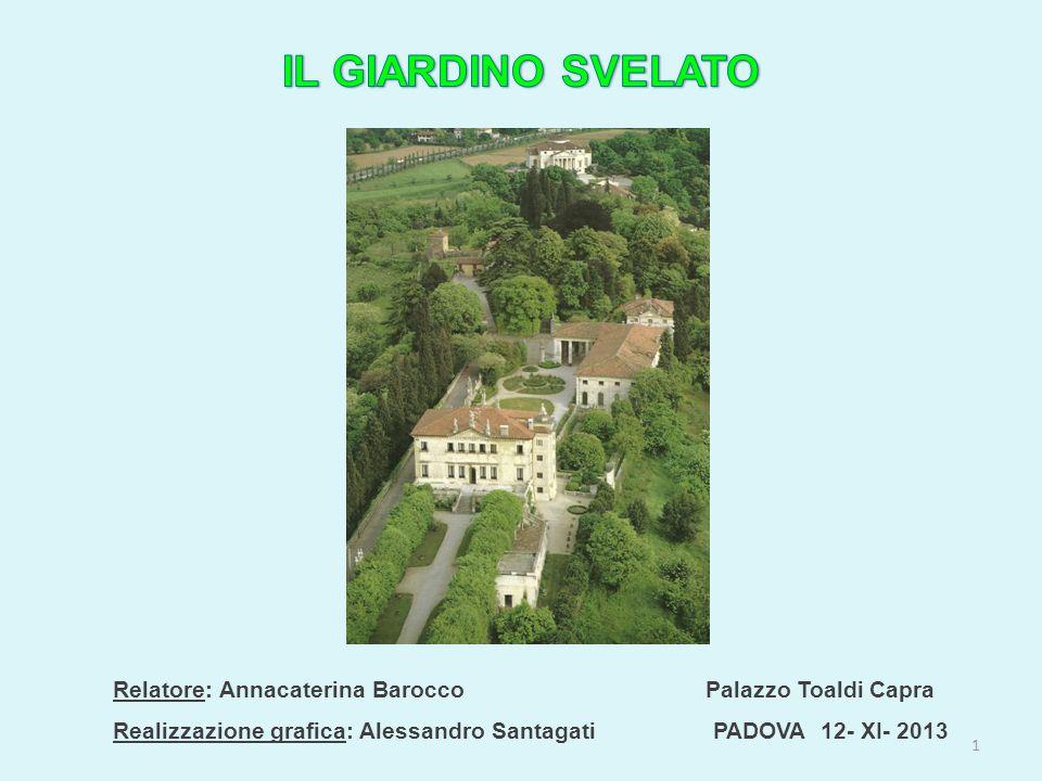 Relatore: Annacaterina Barocco Palazzo Toaldi Capra Realizzazione grafica: Alessandro Santagati PADOVA 12- XI- 2013 1