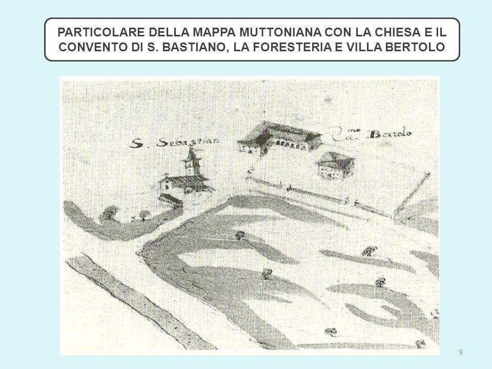 PARTICOLARE DELLA MAPPA MUTTONIANA CON LA CHIESA E IL CONVENTO DI S.