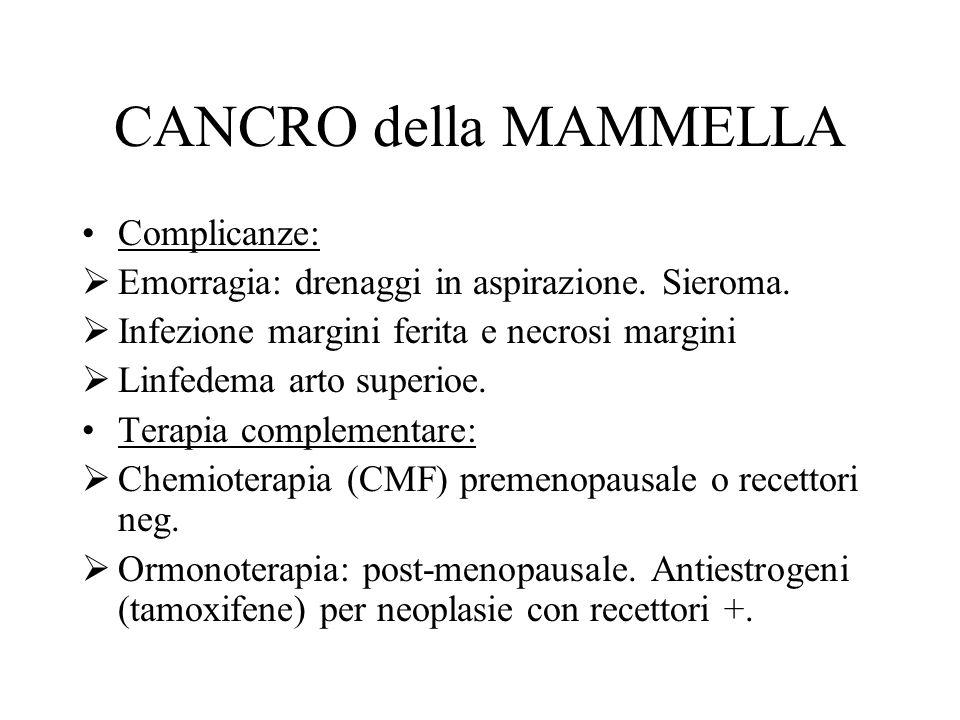 CANCRO della MAMMELLA Complicanze:  Emorragia: drenaggi in aspirazione.