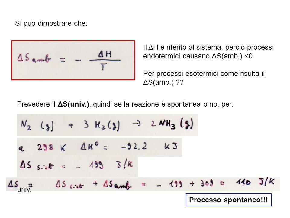 Si può dimostrare che: Il ΔH è riferito al sistema, perciò processi endotermici causano ΔS(amb.) <0 Per processi esotermici come risulta il ΔS(amb.) .