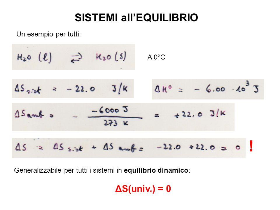 SISTEMI all'EQUILIBRIO A 0°C Un esempio per tutti: .