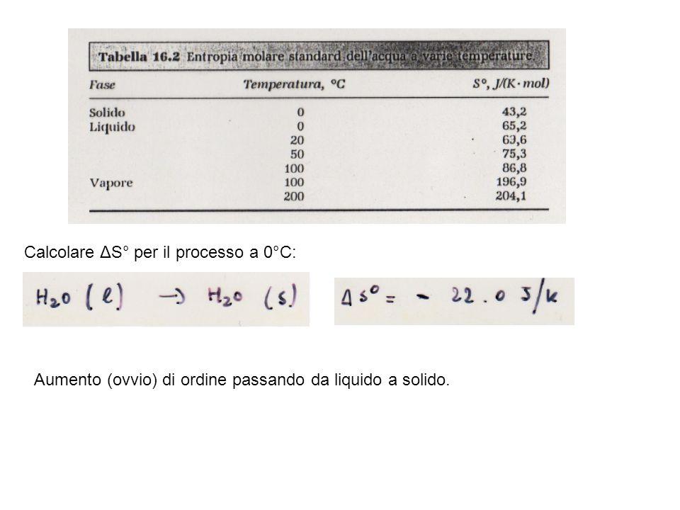 Calcolare ΔS° per il processo a 0°C: Aumento (ovvio) di ordine passando da liquido a solido.