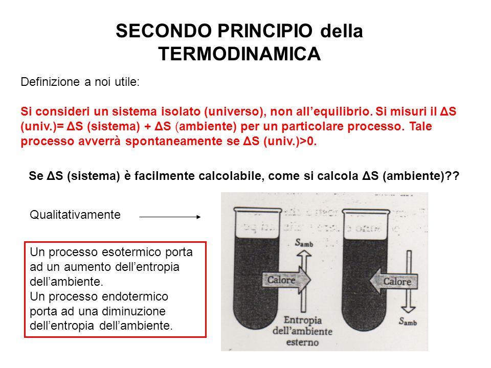 SECONDO PRINCIPIO della TERMODINAMICA Definizione a noi utile: Si consideri un sistema isolato (universo), non all'equilibrio. Si misuri il ΔS (univ.)