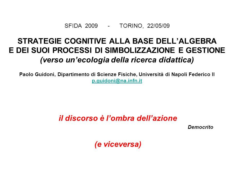 SFIDA 2009 - TORINO, 22/05/09 STRATEGIE COGNITIVE ALLA BASE DELL'ALGEBRA E DEI SUOI PROCESSI DI SIMBOLIZZAZIONE E GESTIONE (verso un'ecologia della ricerca didattica) Paolo Guidoni, Dipartimento di Scienze Fisiche, Università di Napoli Federico II p.guidoni@na.infn.it p.guidoni@na.infn.it il discorso è l'ombra dell'azione Democrito (e viceversa)