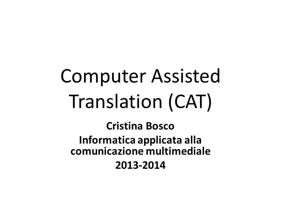 Breve storia L'idea di sistema di CAT nasce negli anni '60, quando la European Coal and Steel Community (ECSC) sviluppa un sistema per la ricerca di termini e del loro contesto in traduzioni memorizzate in formato elettronico.