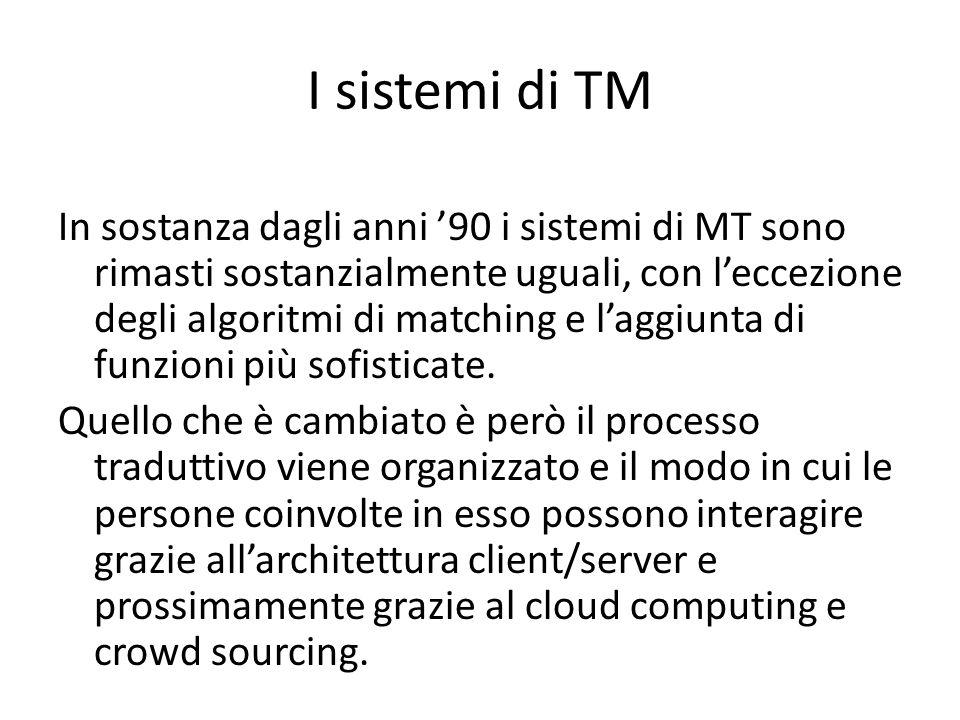In sostanza dagli anni '90 i sistemi di MT sono rimasti sostanzialmente uguali, con l'eccezione degli algoritmi di matching e l'aggiunta di funzioni più sofisticate.