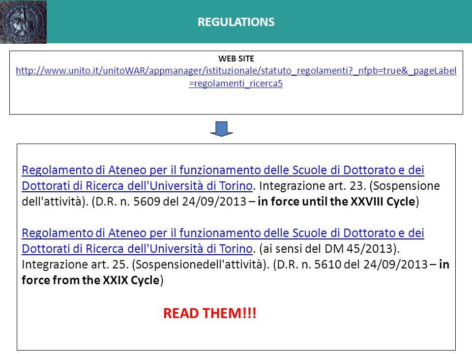 REGULATIONS Regolamento di Ateneo per il funzionamento delle Scuole di Dottorato e dei Dottorati di Ricerca dell'Università di TorinoRegolamento di At
