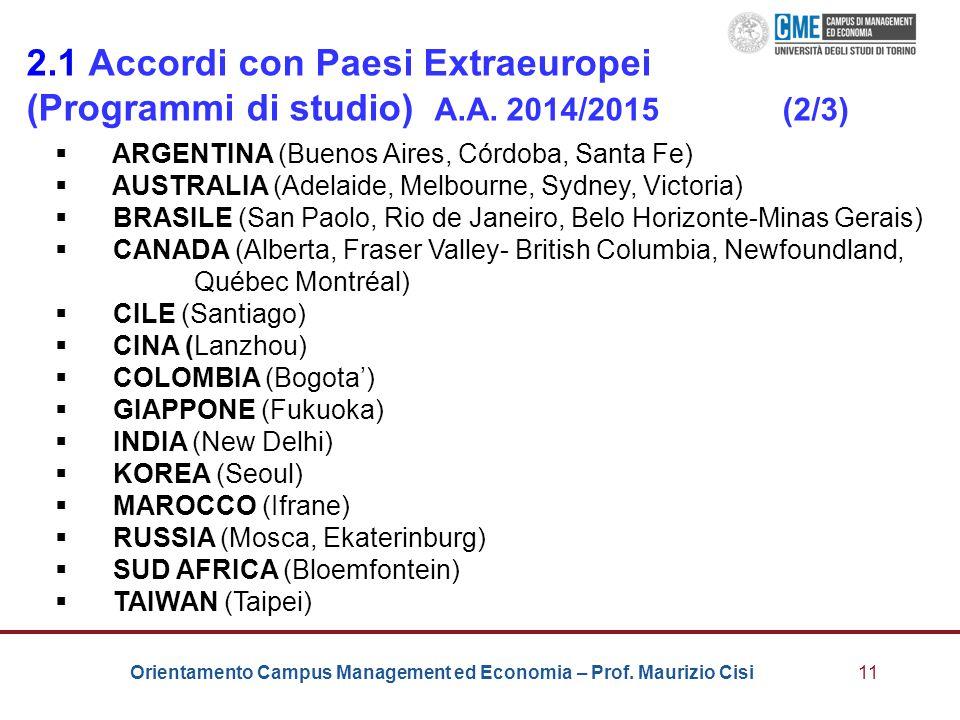 Orientamento Campus Management ed Economia – Prof. Maurizio Cisi11 2.1 Accordi con Paesi Extraeuropei (Programmi di studio) A.A. 2014/2015 (2/3)  ARG