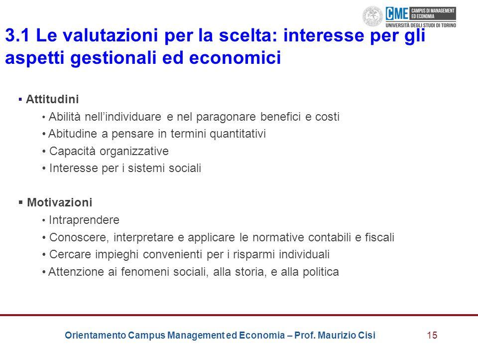 Orientamento Campus Management ed Economia – Prof. Maurizio Cisi15 3.1 Le valutazioni per la scelta: interesse per gli aspetti gestionali ed economici