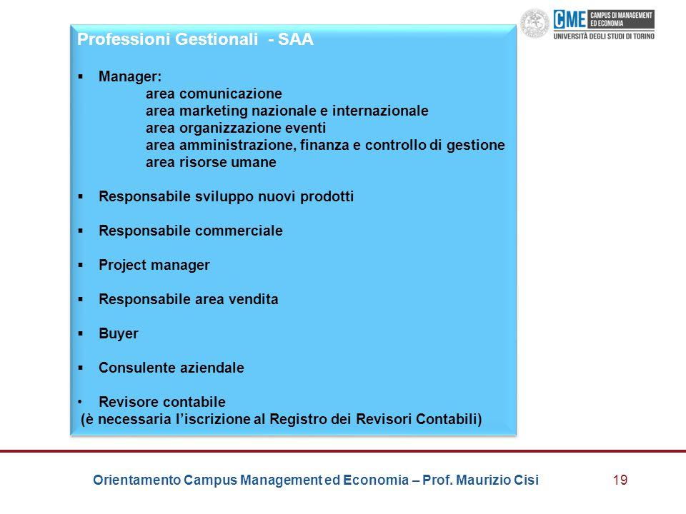 Orientamento Campus Management ed Economia – Prof. Maurizio Cisi19 Professioni Gestionali - SAA  Manager: area comunicazione area marketing nazionale