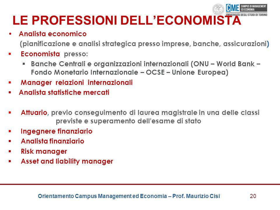 Orientamento Campus Management ed Economia – Prof. Maurizio Cisi LE PROFESSIONI DELL'ECONOMISTA Analista economico (pianificazione e analisi strategic