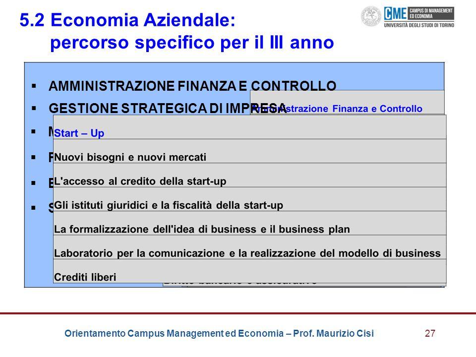 Orientamento Campus Management ed Economia – Prof. Maurizio Cisi27 5.2 Economia Aziendale: percorso specifico per il III anno  AMMINISTRAZIONE FINANZ