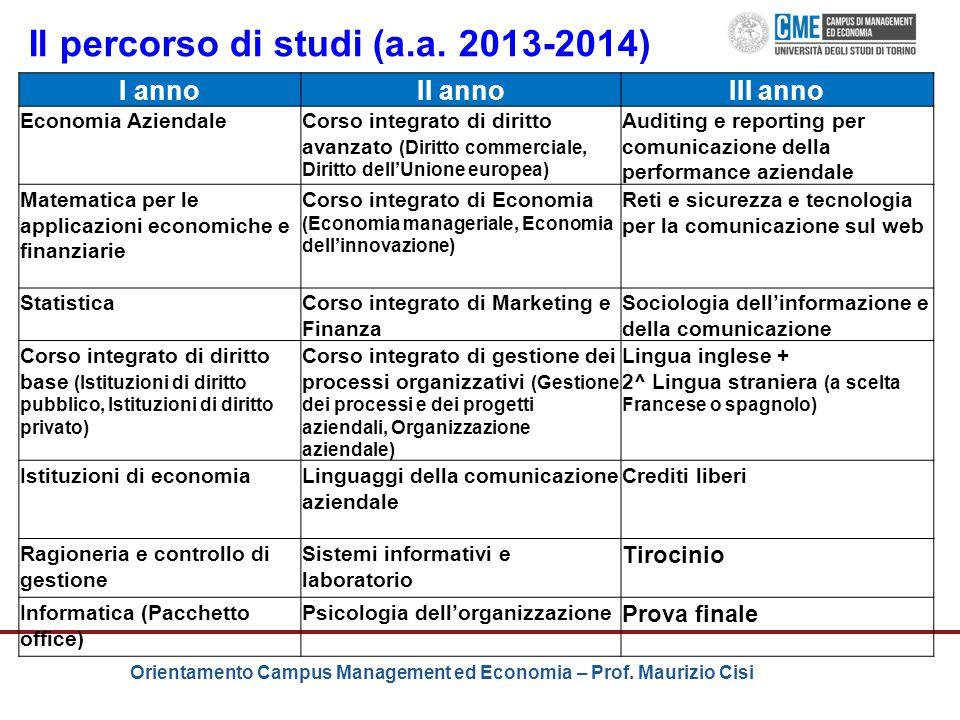 Orientamento Campus Management ed Economia – Prof. Maurizio Cisi I annoII annoIII anno Economia AziendaleCorso integrato di diritto avanzato (Diritto