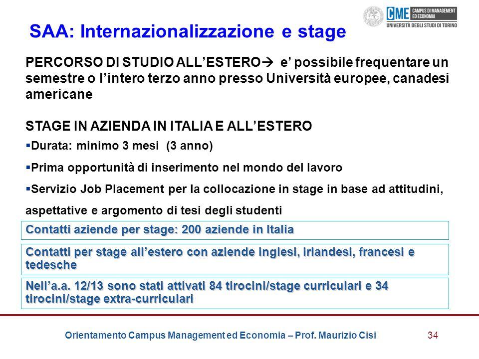 Orientamento Campus Management ed Economia – Prof. Maurizio Cisi34 SAA: Internazionalizzazione e stage PERCORSO DI STUDIO ALL'ESTERO  e' possibile fr