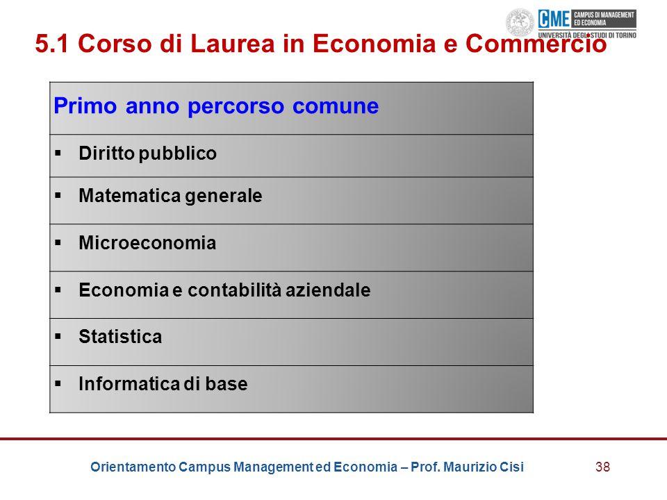 Orientamento Campus Management ed Economia – Prof. Maurizio Cisi38 5.1 Corso di Laurea in Economia e Commercio Primo anno percorso comune  Diritto pu