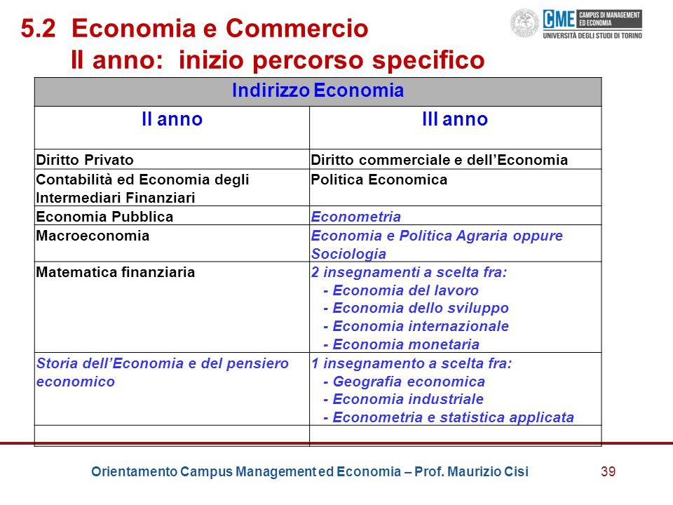 Orientamento Campus Management ed Economia – Prof. Maurizio Cisi39 5.2 Economia e Commercio II anno: inizio percorso specifico Indirizzo Economia II a