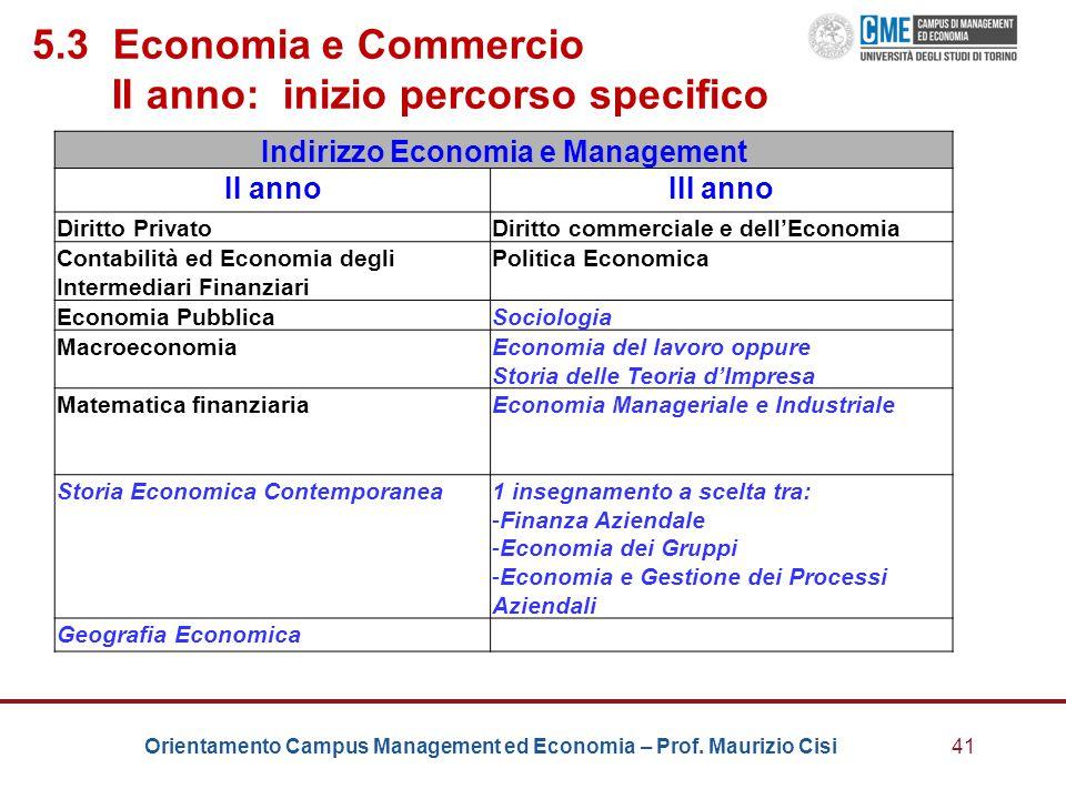 Orientamento Campus Management ed Economia – Prof. Maurizio Cisi41 5.3 Economia e Commercio II anno: inizio percorso specifico Indirizzo Economia e Ma