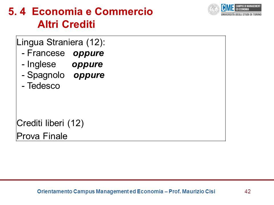 Orientamento Campus Management ed Economia – Prof. Maurizio Cisi42 5. 4 Economia e Commercio Altri Crediti Lingua Straniera (12): - Francese oppure -
