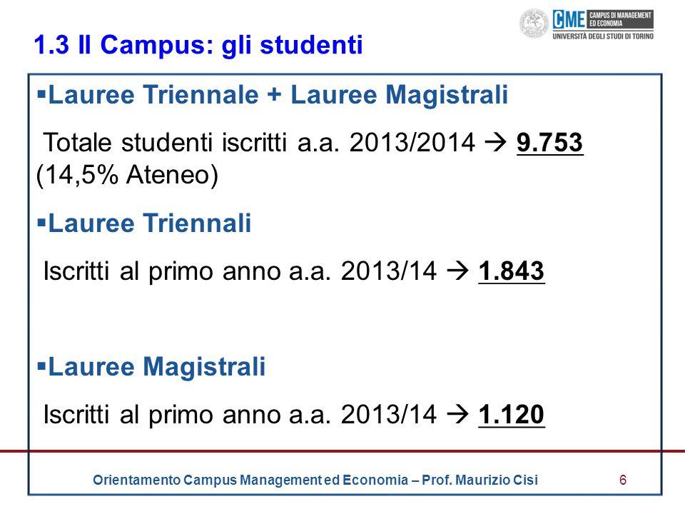 Orientamento Campus Management ed Economia – Prof. Maurizio Cisi6 1.3 Il Campus: gli studenti  Lauree Triennale + Lauree Magistrali Totale studenti i