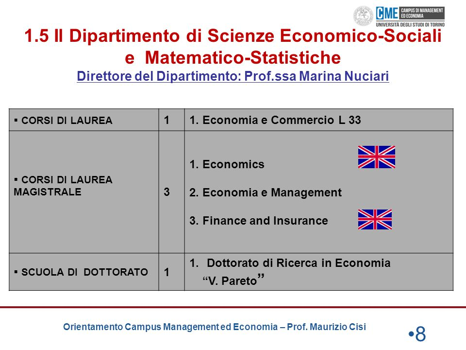 Orientamento Campus Management ed Economia – Prof. Maurizio Cisi 1.5 Il Dipartimento di Scienze Economico-Sociali e Matematico-Statistiche Direttore d