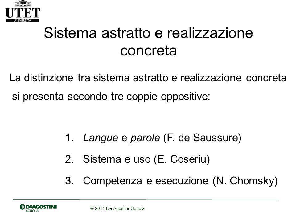 © 2011 De Agostini Scuola Sistema astratto e realizzazione concreta La distinzione tra sistema astratto e realizzazione concreta si presenta secondo tre coppie oppositive: 1.