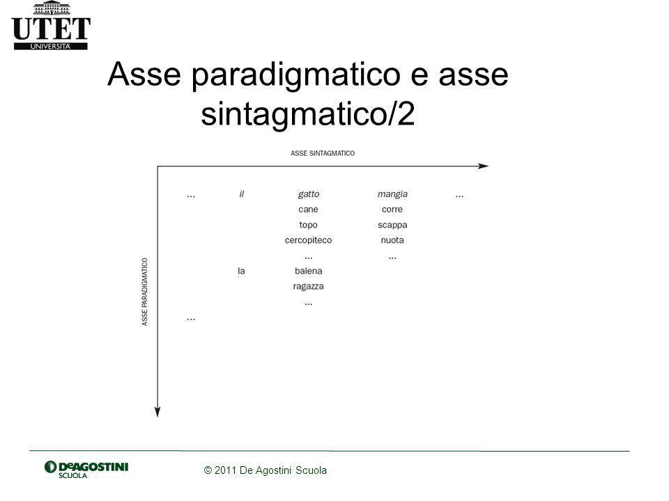 © 2011 De Agostini Scuola Asse paradigmatico e asse sintagmatico/2