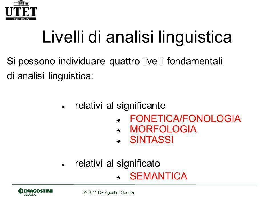 © 2011 De Agostini Scuola Livelli di analisi linguistica Si possono individuare quattro livelli fondamentali di analisi linguistica: relativi al significante  FONETICA/FONOLOGIA  MORFOLOGIA  SINTASSI relativi al significato  SEMANTICA