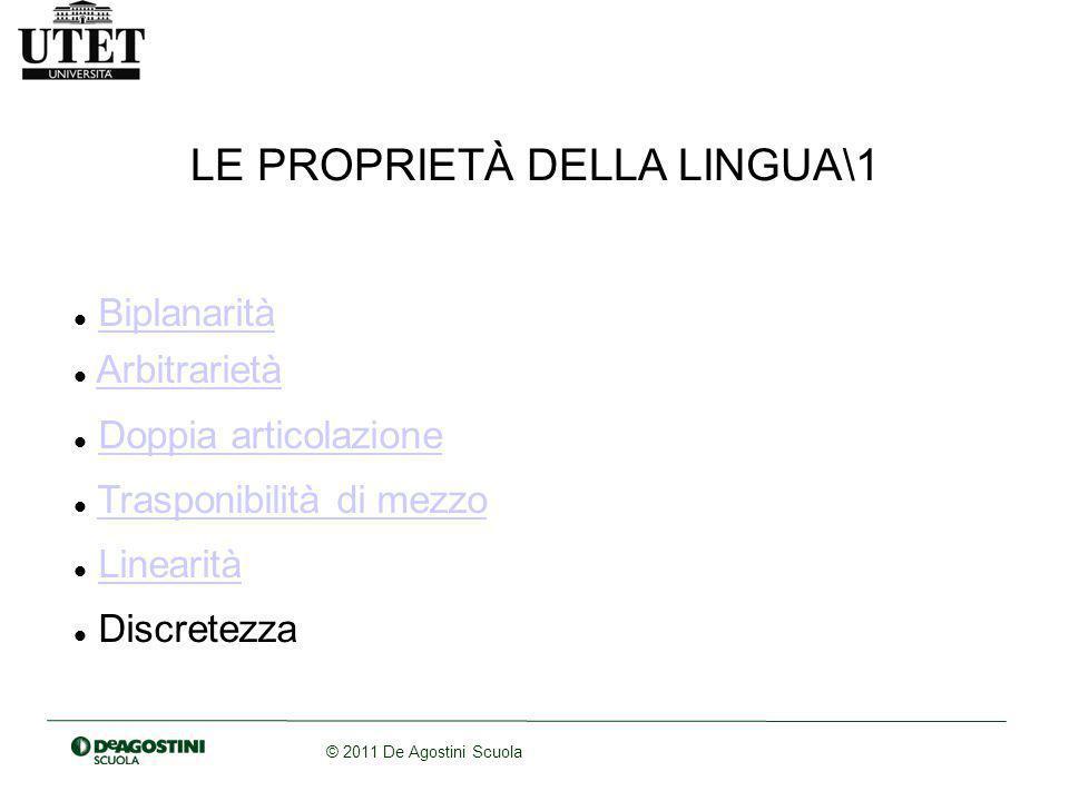 © 2011 De Agostini Scuola LE PROPRIETÀ DELLA LINGUA\1 Biplanarità Arbitrarietà Doppia articolazione Trasponibilità di mezzo Linearità Discretezza
