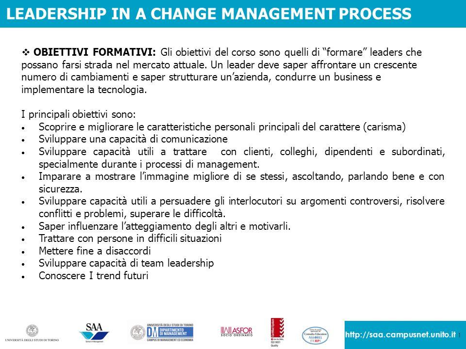 """1 http://saa.campusnet.unito.it LEADERSHIP IN A CHANGE MANAGEMENT PROCESS  OBIETTIVI FORMATIVI: Gli obiettivi del corso sono quelli di """"formare"""" lead"""