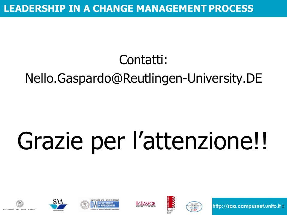 3 http://saa.campusnet.unito.it LEADERSHIP IN A CHANGE MANAGEMENT PROCESS Contatti: Nello.Gaspardo@Reutlingen-University.DE Grazie per l'attenzione!!
