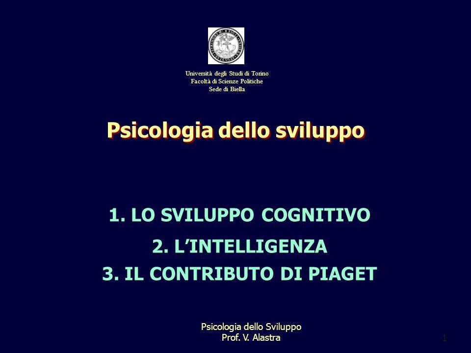 Psicologia dello Sviluppo Prof.V. Alastra1 1. LO SVILUPPO COGNITIVO 2.